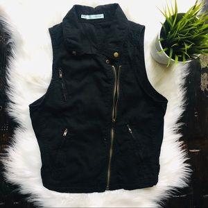 MAURICES Linen Bld Asymmetric Zip Black Vest XS